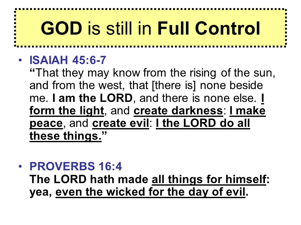 GOD is still in Full Control