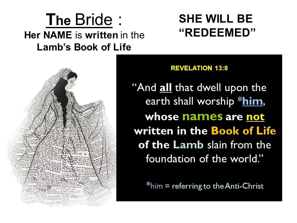 The Bride : Her NAME is written in the Lamb's Book of Life