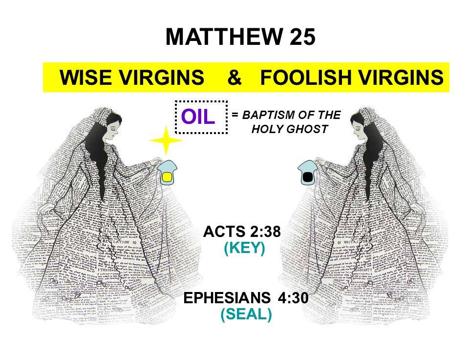 MATTHEW 25 WISE VIRGINS & FOOLISH VIRGINS OIL ACTS 2:38 (KEY)