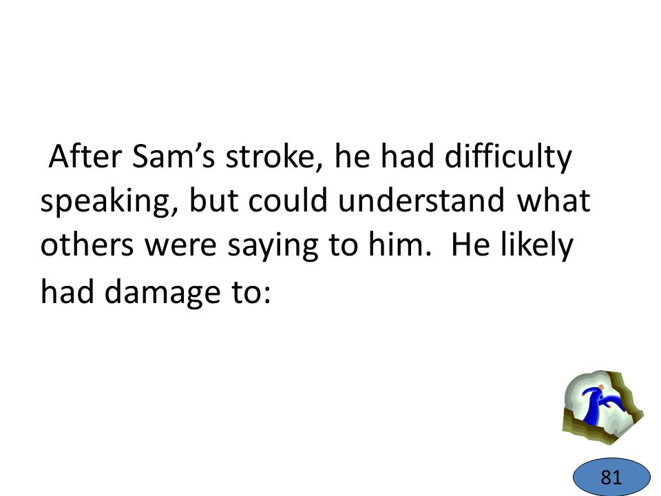 After Sam's stroke, he had difficulty speaking, but could understand what others were saying to him. He likely had damage to: