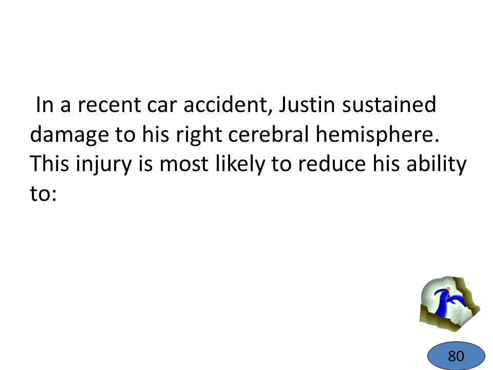In a recent car accident, Justin sustained damage to his right cerebral hemisphere. This injury is most likely to reduce his ability to:
