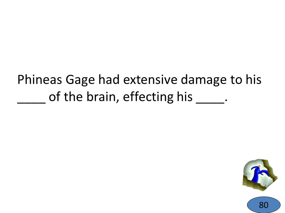 Phineas Gage had extensive damage to his ____ of the brain, effecting his ____.