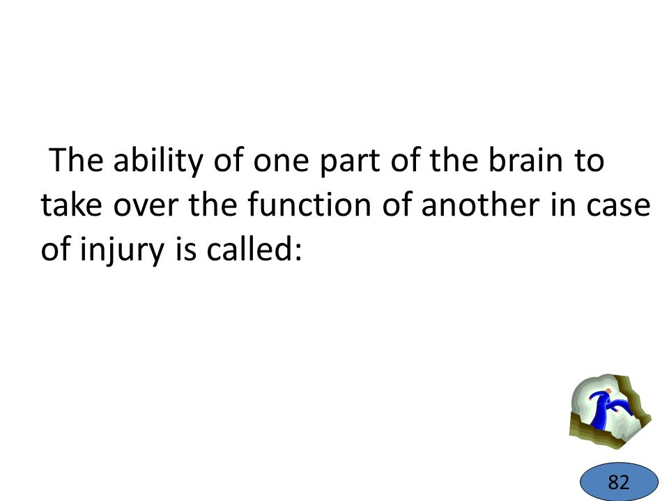 The ability of one part of the brain to take over the function of another in case of injury is called: