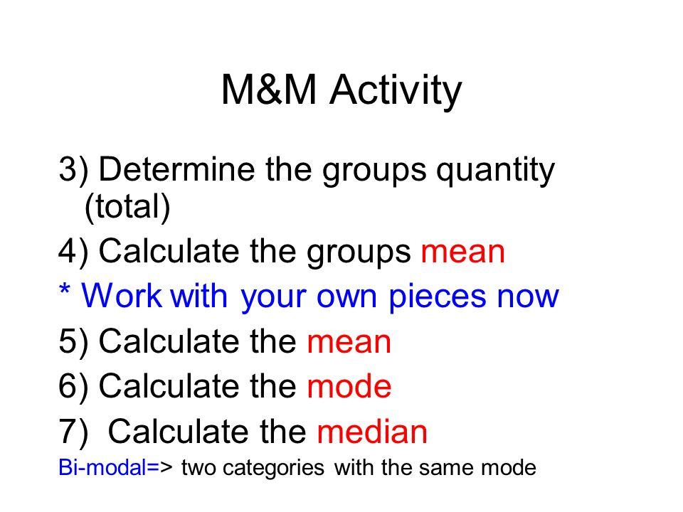 M&M Activity 3) Determine the groups quantity (total)