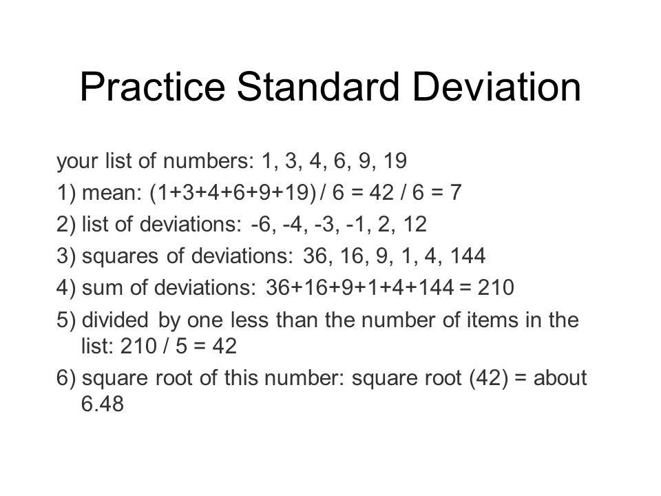 Practice Standard Deviation