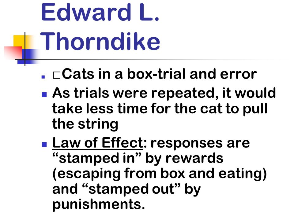 Edward L. Thorndike Cats in a box-trial and error. As trials were repeated, it would take less time for the cat to pull the string.