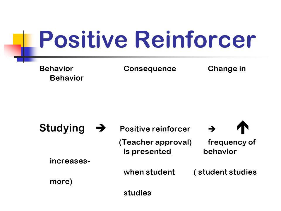 Positive Reinforcer Studying  Positive reinforcer  