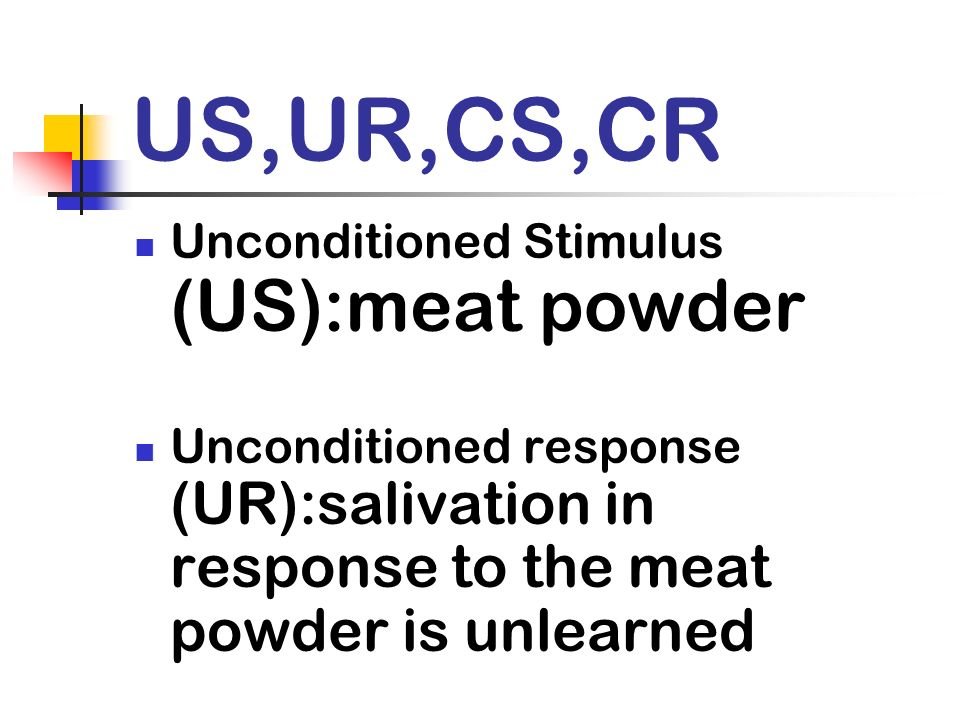 US,UR,CS,CR Unconditioned Stimulus (US):meat powder
