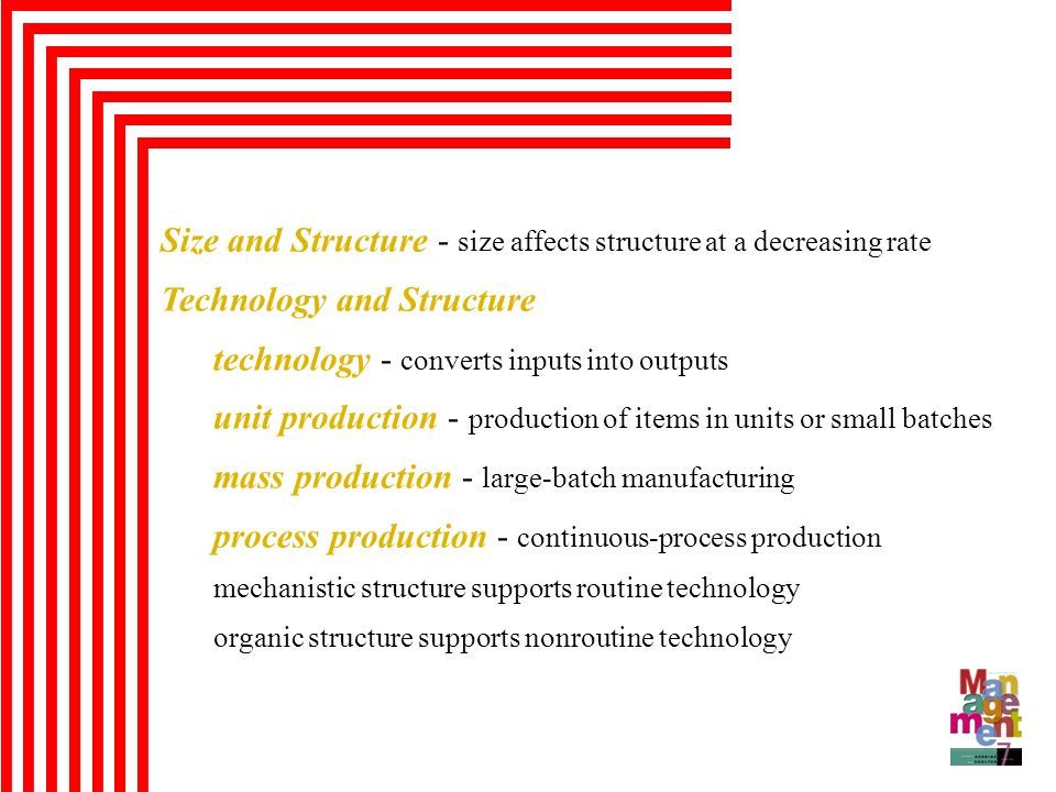 Size and Structure - size affects structure at a decreasing rate