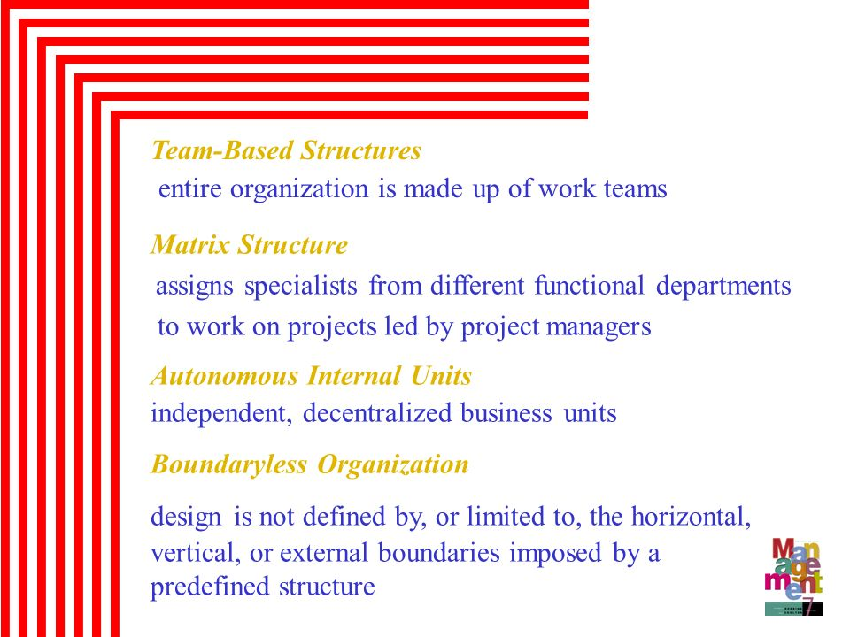 entire organization is made up of work teams