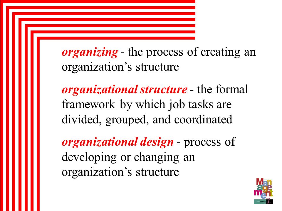 organizing - the process of creating an organization's structure