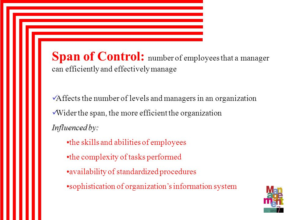 Span of Control: number of employees that a manager can efficiently and effectively manage