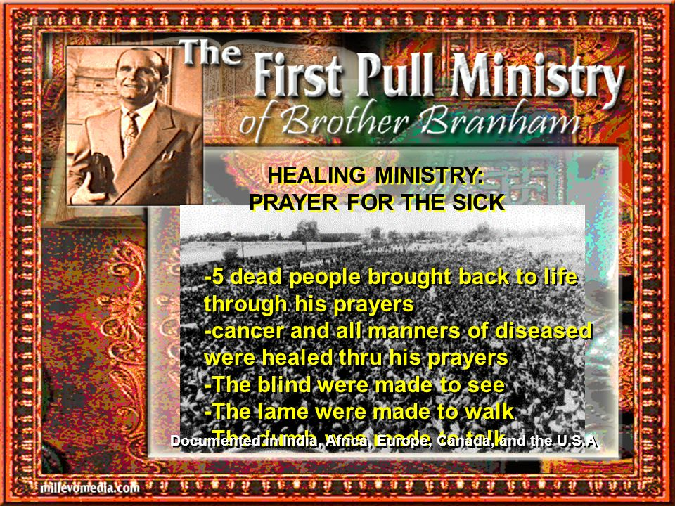 HEALING MINISTRY: PRAYER FOR THE SICK