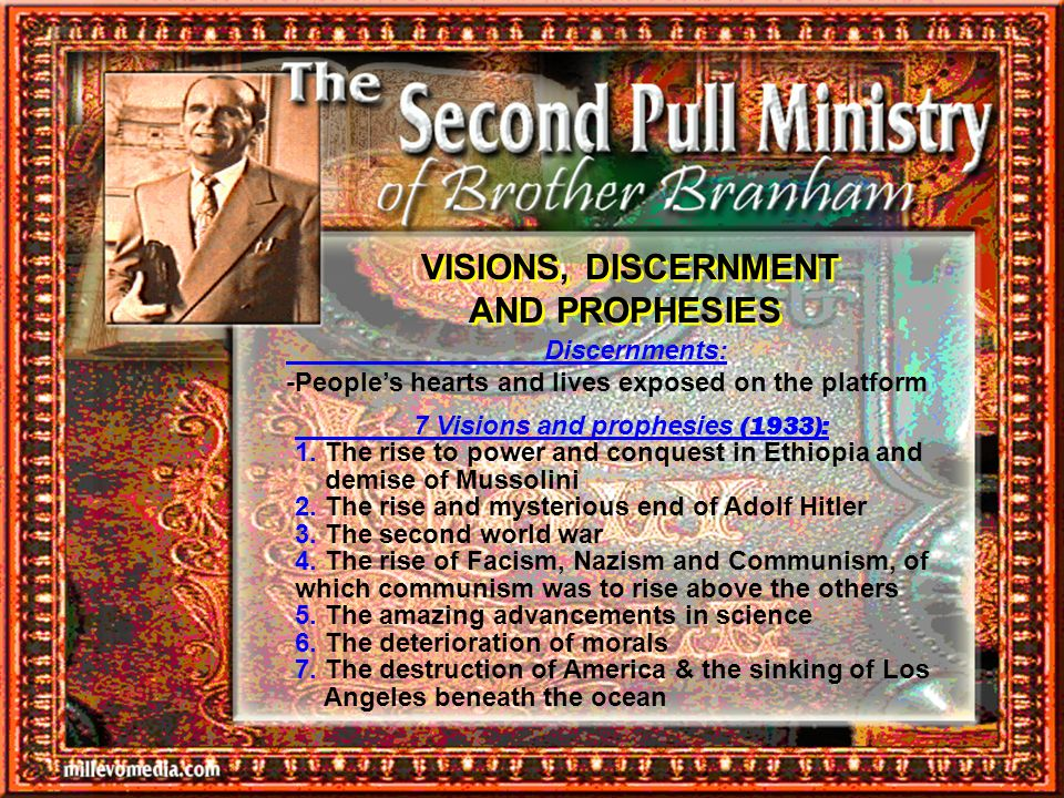 VISIONS, DISCERNMENT AND PROPHESIES
