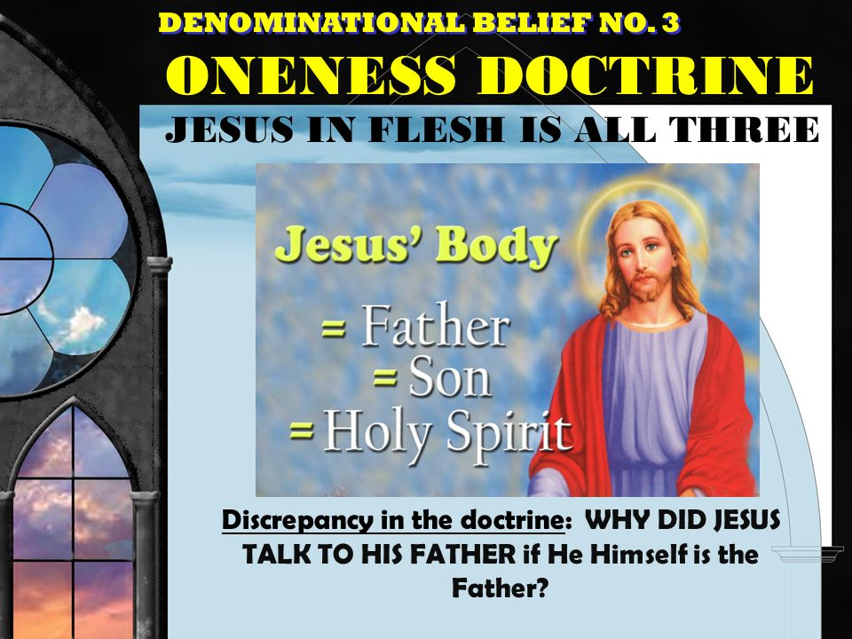 ONENESS DOCTRINE JESUS IN FLESH IS ALL THREE
