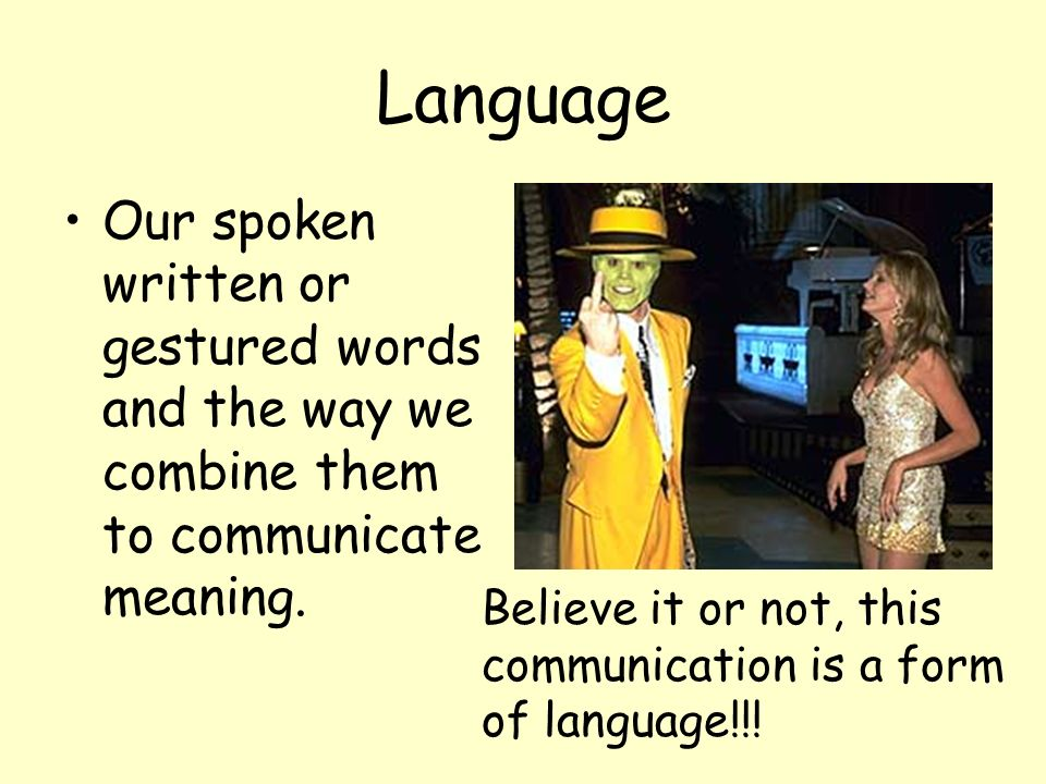 Language Our spoken written or gestured words and the way we combine them to communicate meaning.