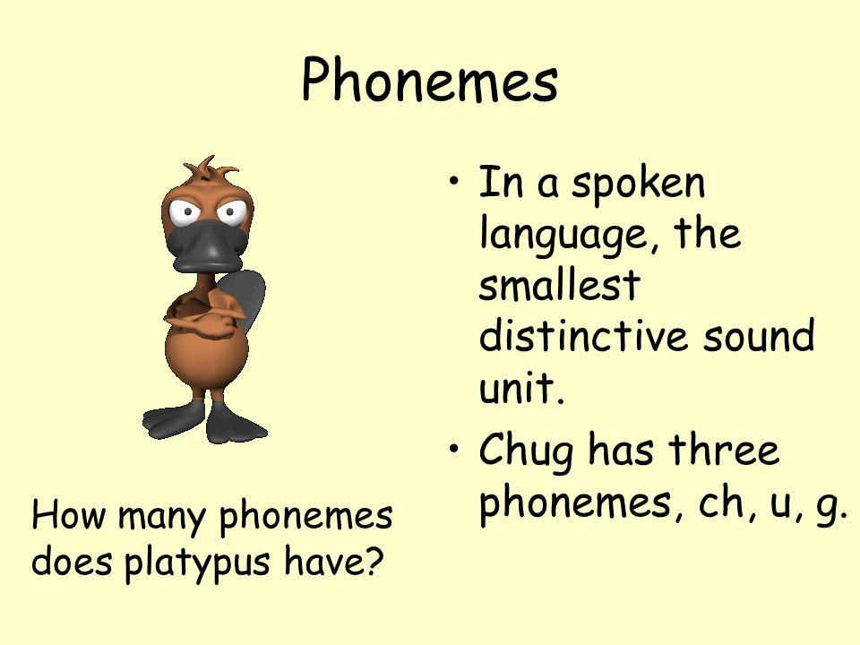 Phonemes In a spoken language, the smallest distinctive sound unit.