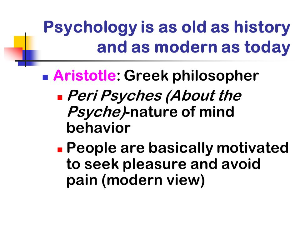 Psychology is as old as history and as modern as today