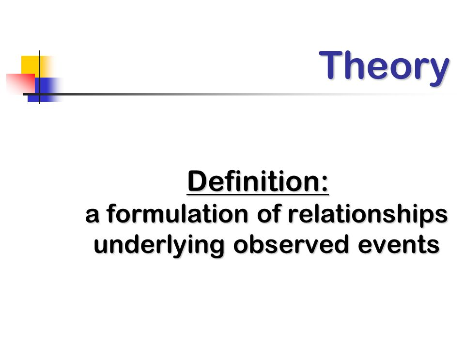 Definition: a formulation of relationships underlying observed events