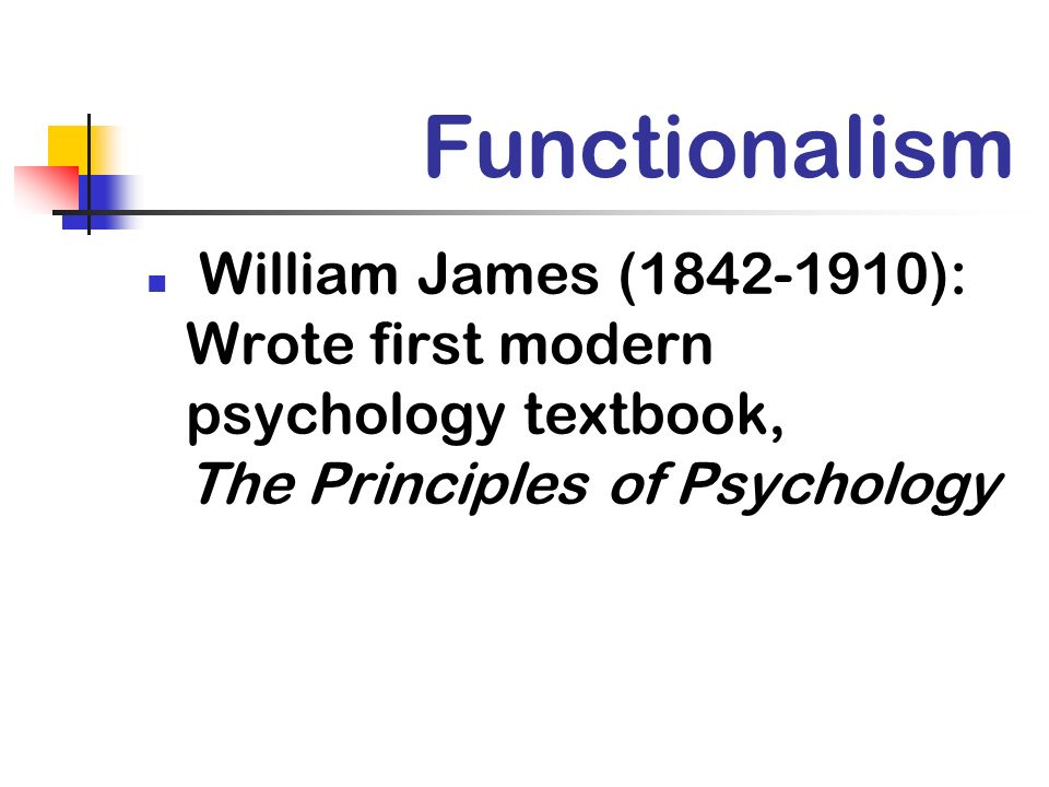 Functionalism William James (1842-1910): Wrote first modern psychology textbook, The Principles of Psychology.