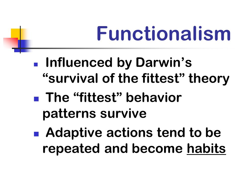 Functionalism The fittest behavior patterns survive