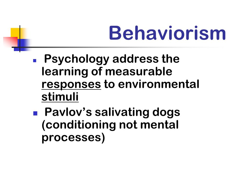 Behaviorism Psychology address the learning of measurable responses to environmental stimuli.