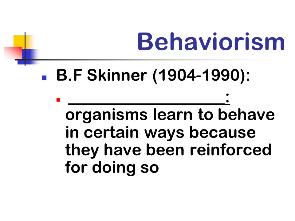 Behaviorism B.F Skinner (1904-1990):