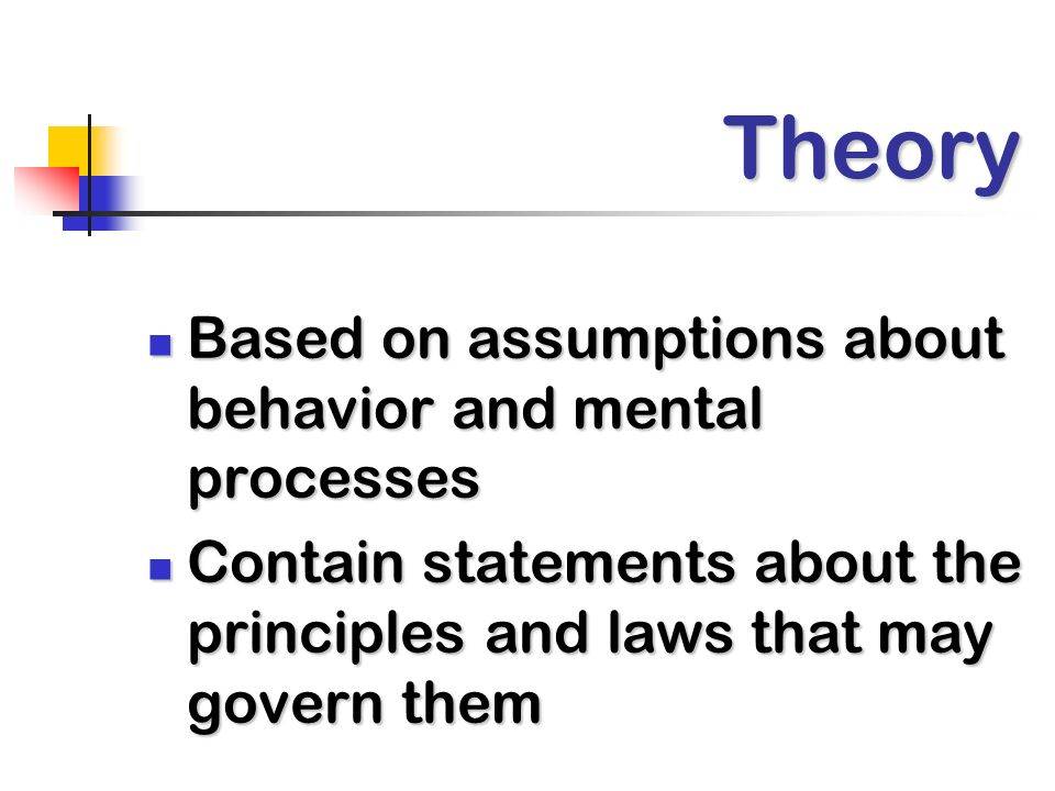 Theory Based on assumptions about behavior and mental processes