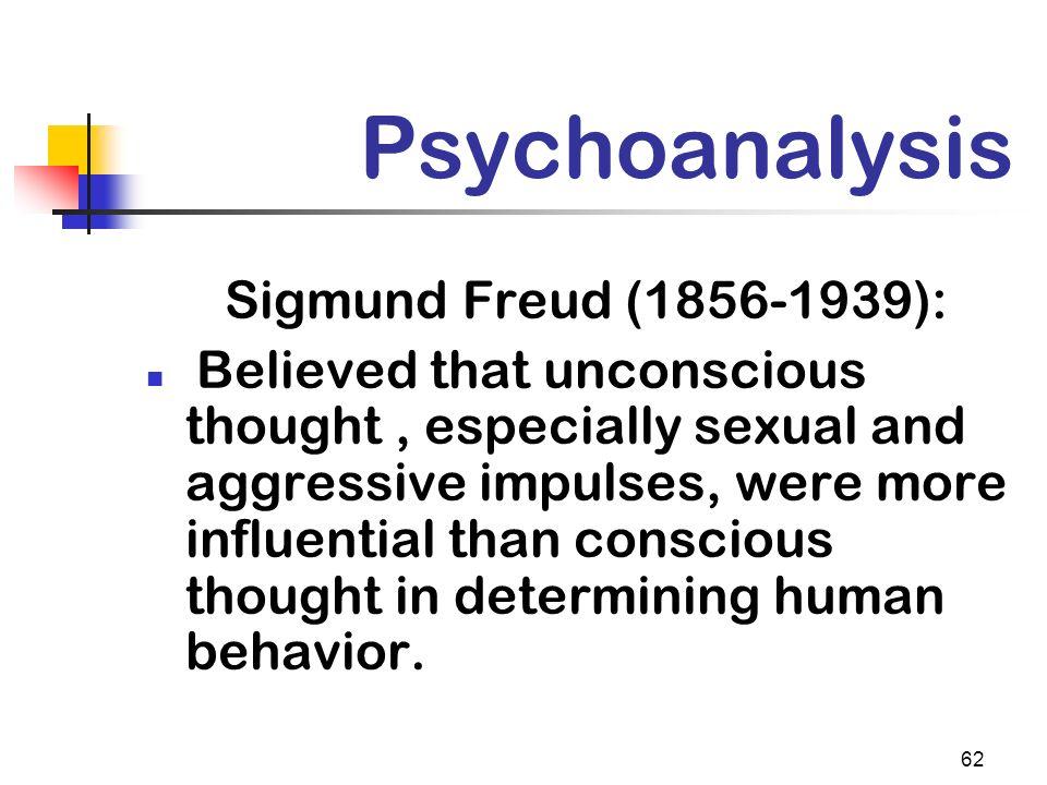 Psychoanalysis Sigmund Freud (1856-1939):