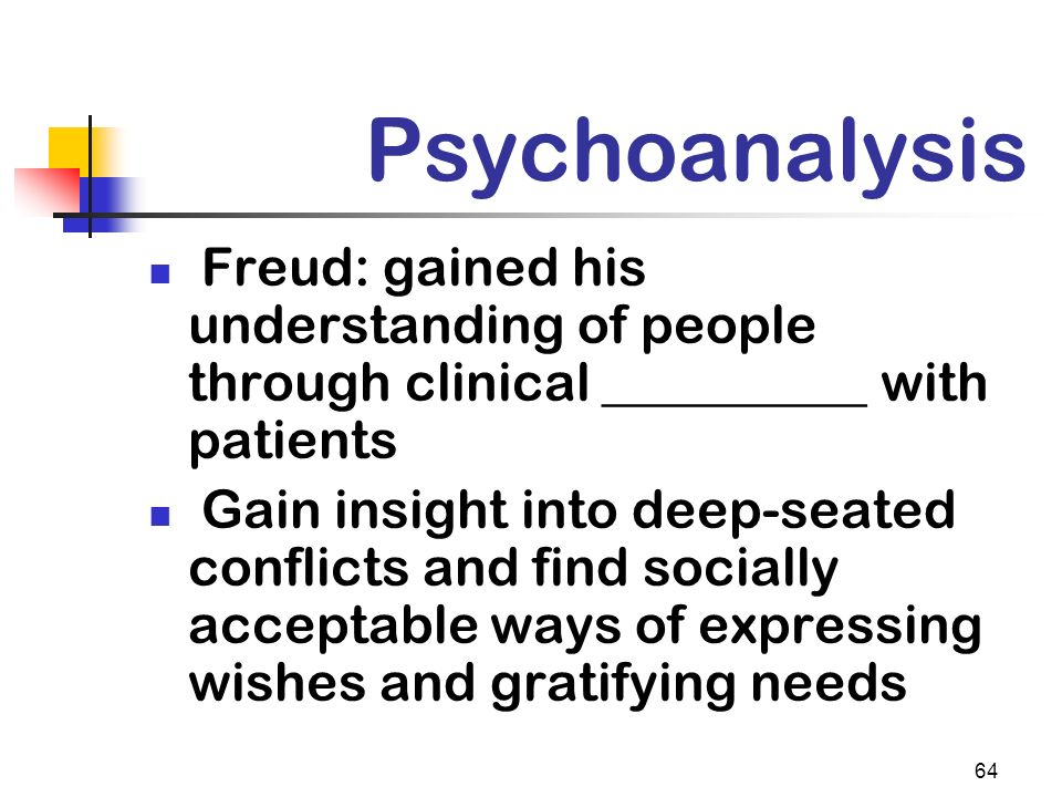 Psychoanalysis Freud: gained his understanding of people through clinical __________ with patients.