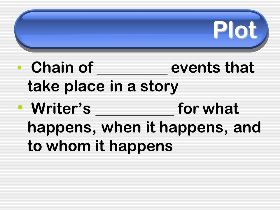 Plot Chain of _________ events that take place in a story.