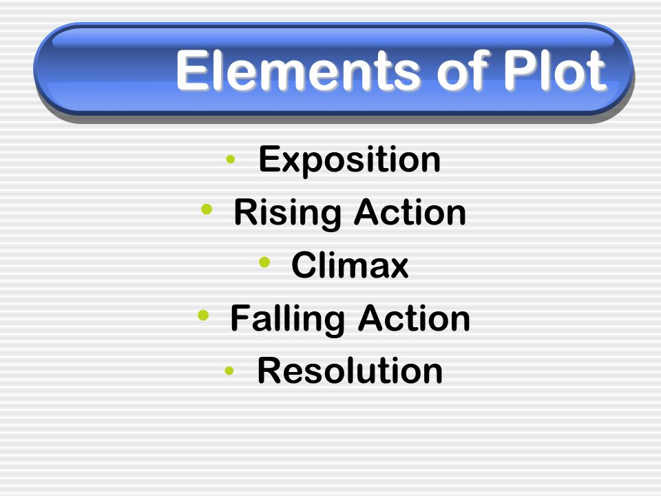 Elements of Plot Rising Action Climax Falling Action Exposition