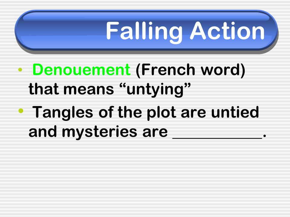 Falling Action Denouement (French word) that means untying Tangles of the plot are untied and mysteries are ___________.