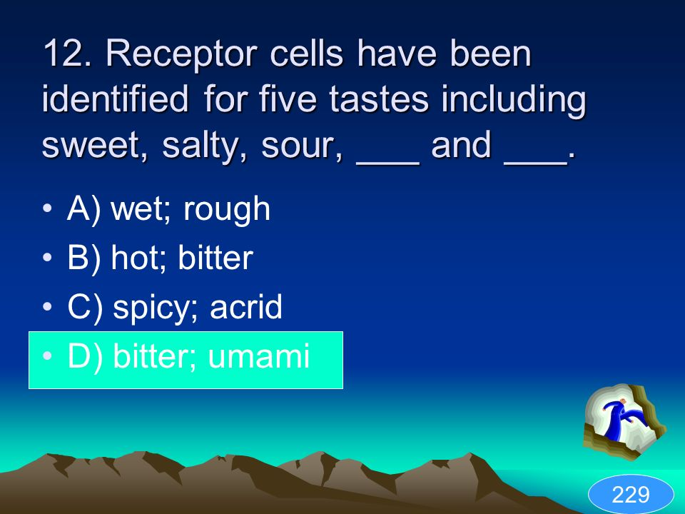 12. Receptor cells have been identified for five tastes including sweet, salty, sour, ___ and ___.