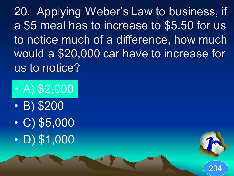 20. Applying Weber's Law to business, if a $5 meal has to increase to $5.50 for us to notice much of a difference, how much would a $20,000 car have to increase for us to notice