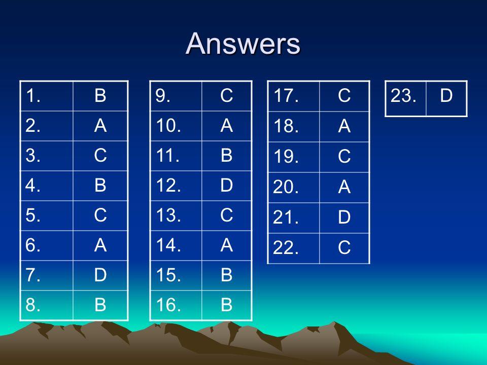 Answers 1. B. 2. A. 3. C. 4. 5. 6. 7. D. 8. 9. C. 10. A. 11. B. 12. D. 13. 14.
