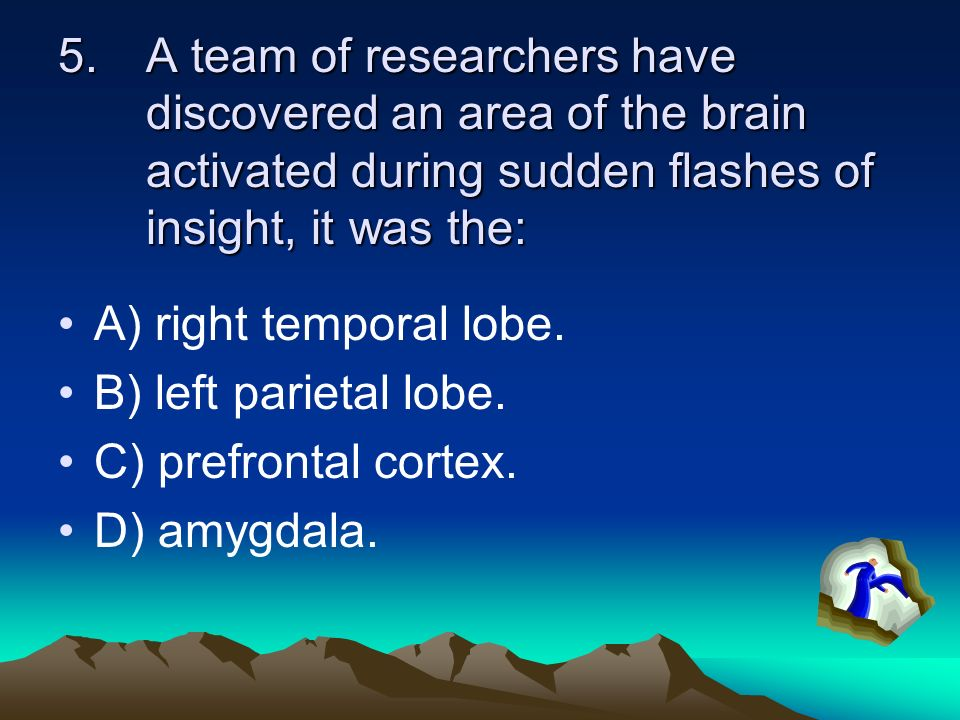 A team of researchers have discovered an area of the brain activated during sudden flashes of insight, it was the: