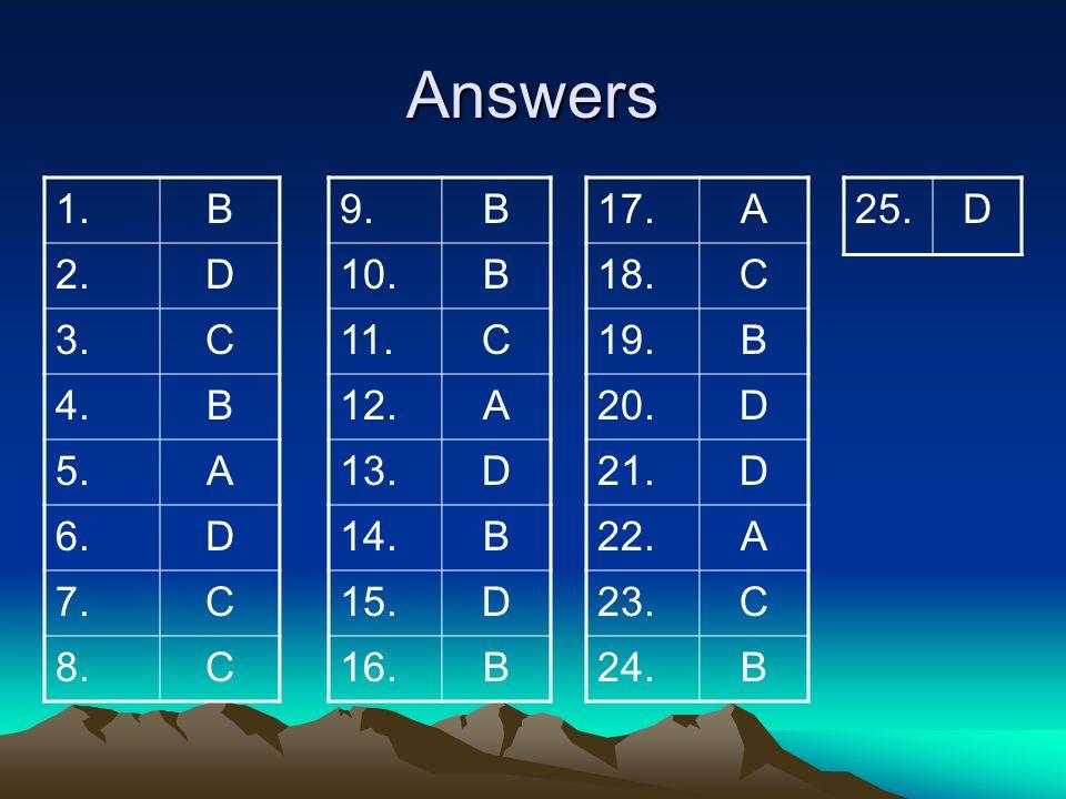 Answers 1. B. 2. D. 3. C. 4. 5. A. 6. 7. 8. 9. B. 10. 11. C. 12. A. 13. D. 14.