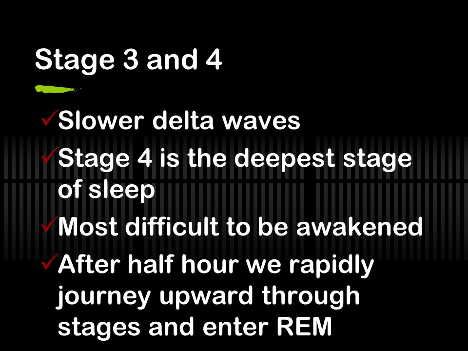 Stage 3 and 4 Slower delta waves Stage 4 is the deepest stage of sleep