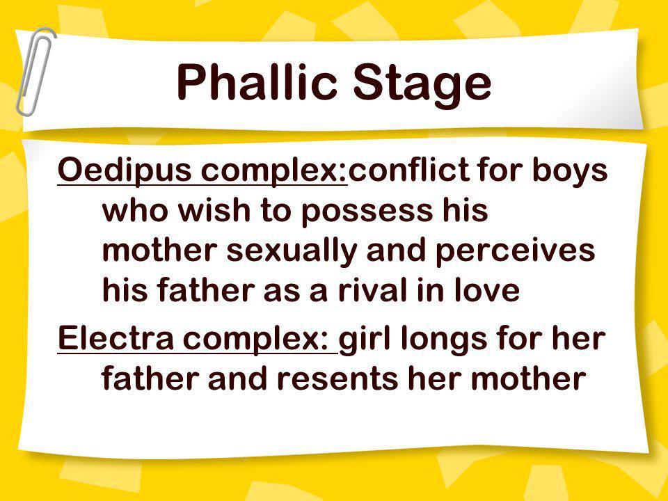 Phallic Stage Oedipus complex:conflict for boys who wish to possess his mother sexually and perceives his father as a rival in love.