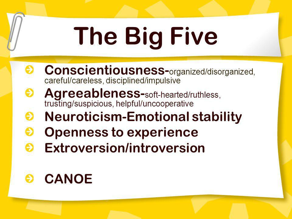 The Big Five Conscientiousness-organized/disorganized, careful/careless, disciplined/impulsive.