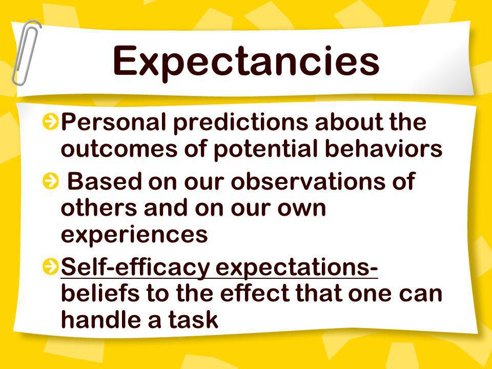 Expectancies Personal predictions about the outcomes of potential behaviors. Based on our observations of others and on our own experiences.