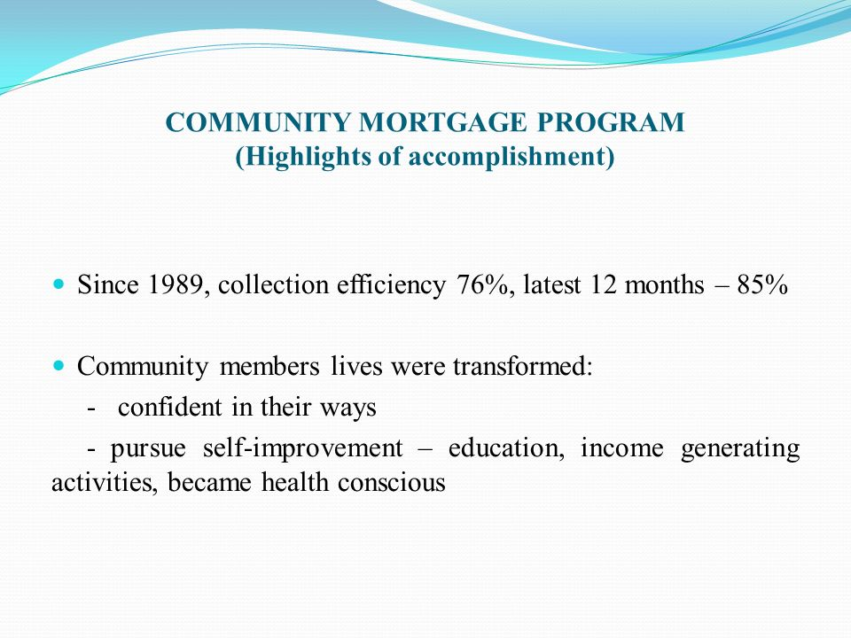COMMUNITY MORTGAGE PROGRAM (Highlights of accomplishment)