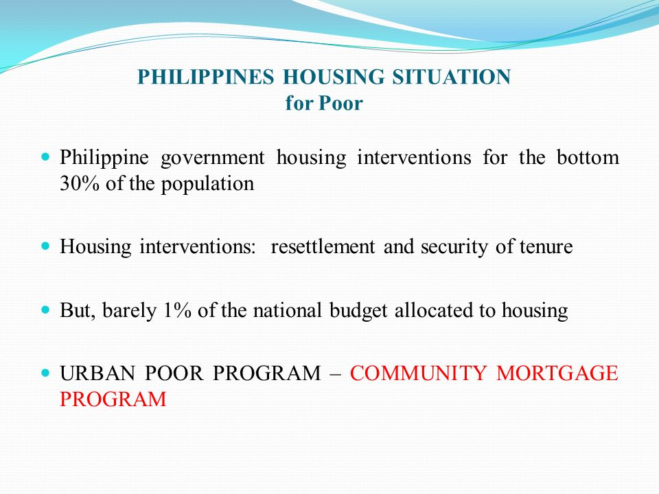 PHILIPPINES HOUSING SITUATION for Poor