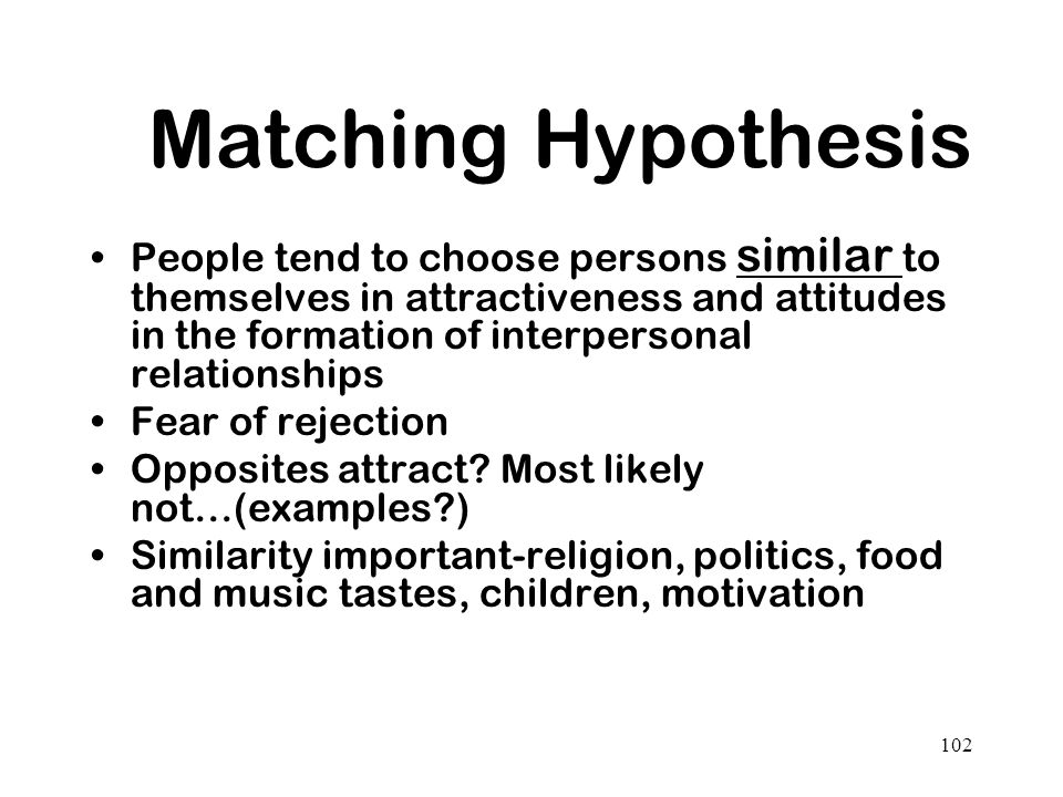 Matching Hypothesis