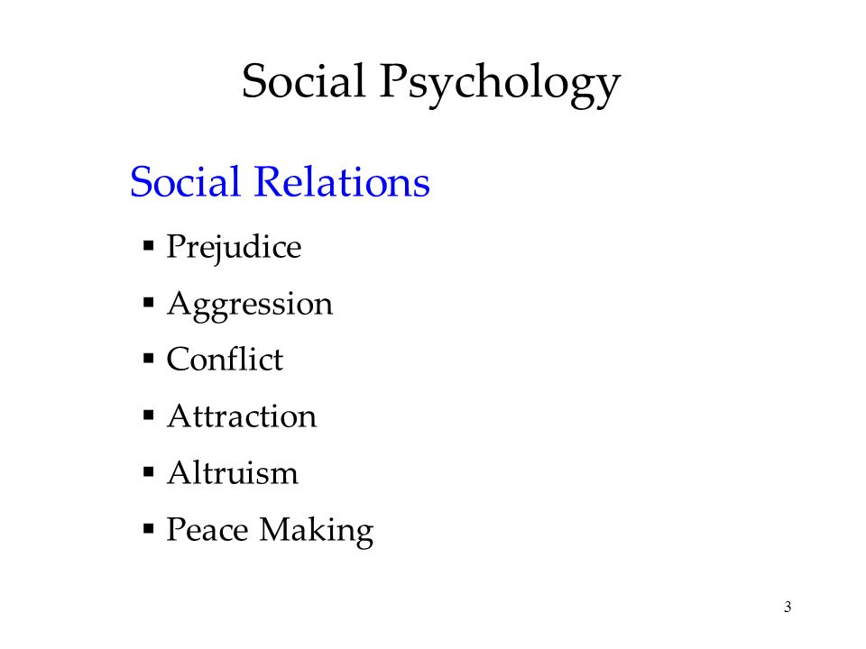 Social Psychology Social Relations Prejudice Aggression Conflict