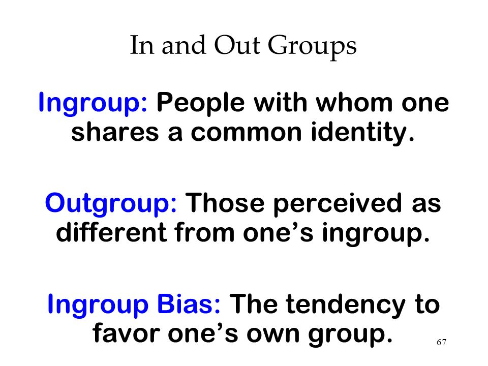 Ingroup: People with whom one shares a common identity.