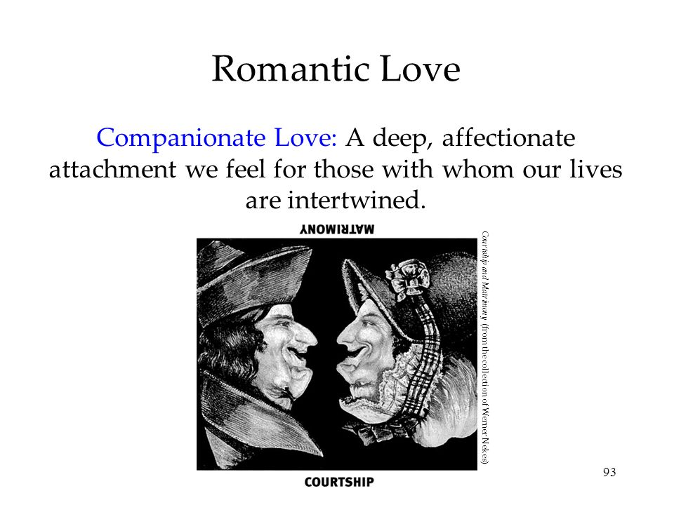 Romantic Love Companionate Love: A deep, affectionate attachment we feel for those with whom our lives are intertwined.