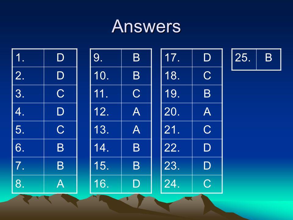 Answers 1. D. 2. 3. C. 4. 5. 6. B. 7. 8. A. 9. B. 10. 11. C. 12. A. 13. 14. 15.