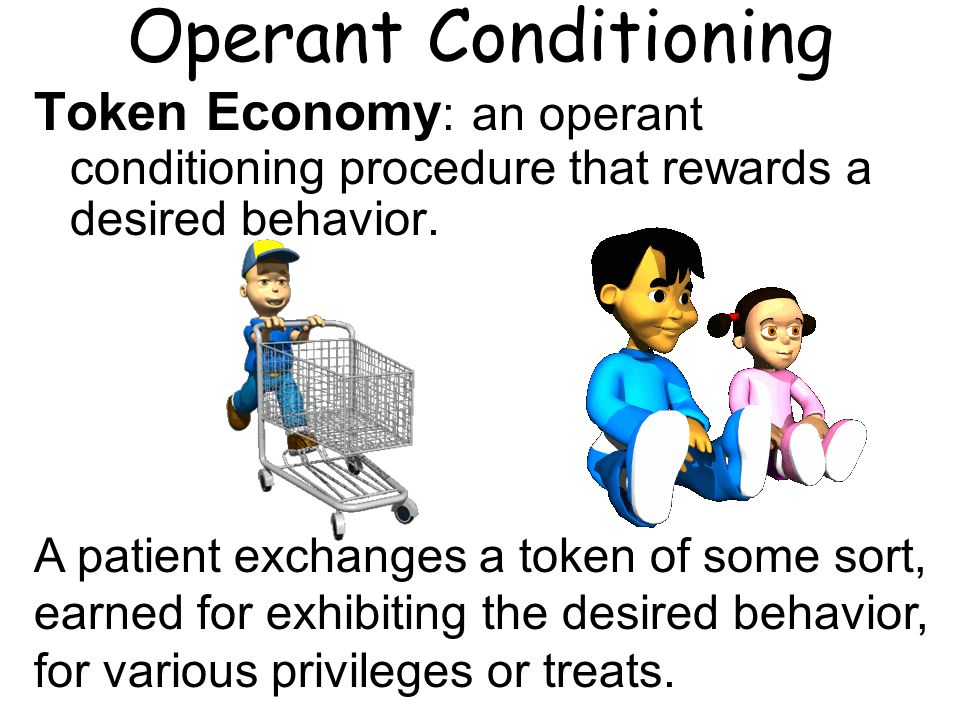 Operant Conditioning Token Economy: an operant conditioning procedure that rewards a desired behavior.